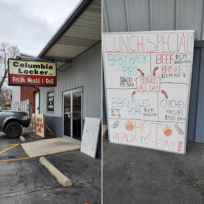 Lunch specials posted at a local Indiana restaurant