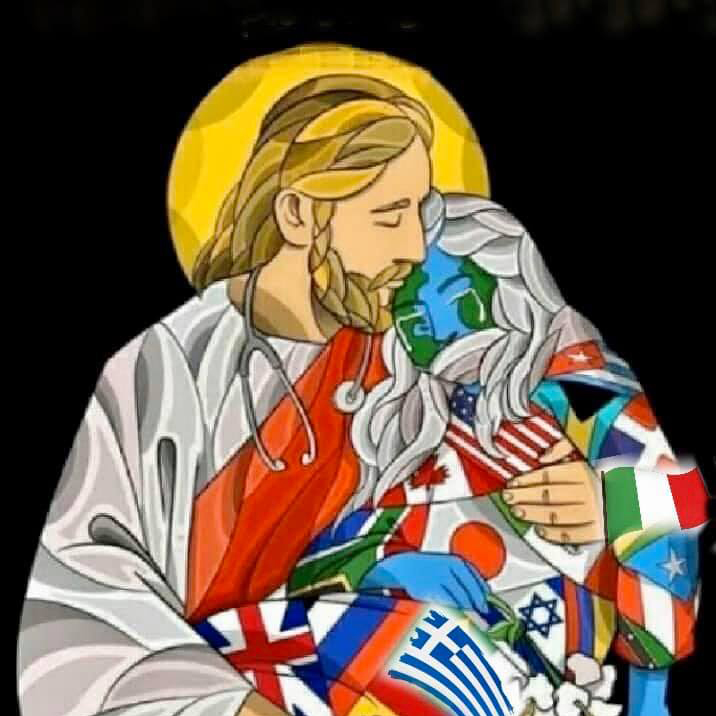 Artistic image of Jesus cradling a crying person made of the flags of the world.